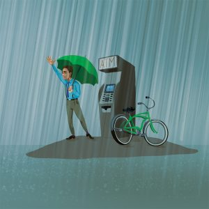 Man at ATM during flood