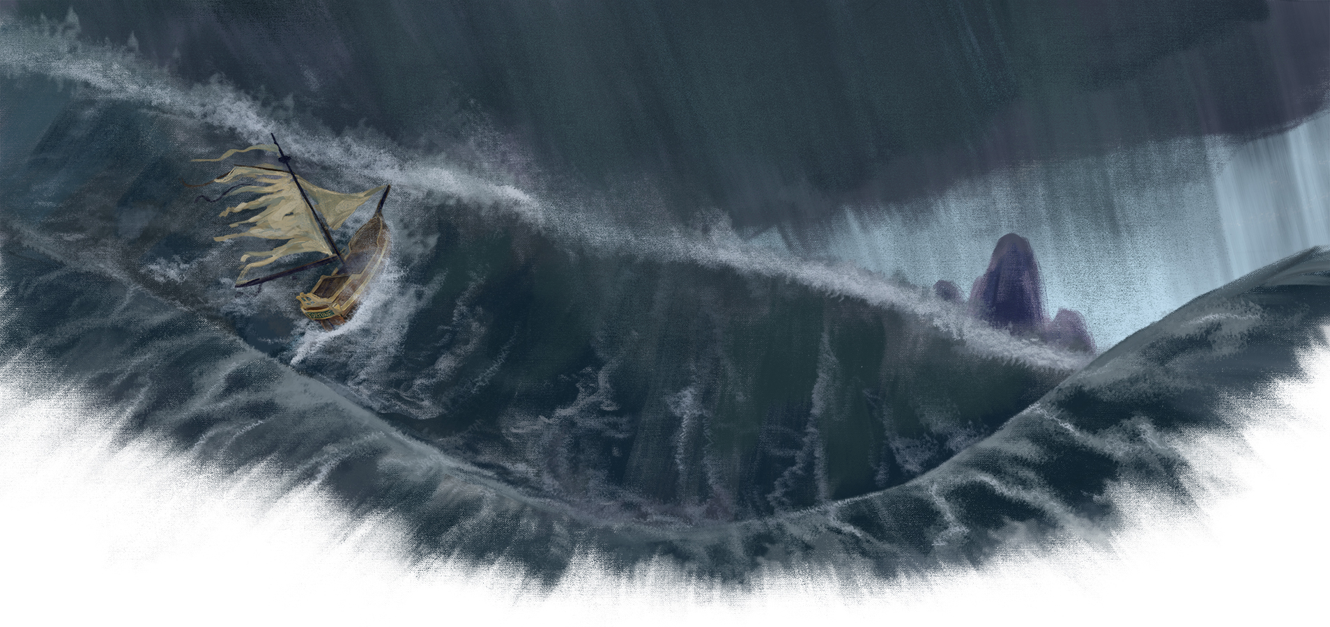 Ship on stormy water