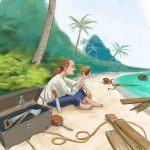 Hero inspecting coconut on the beach
