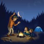 Illustration of man telling campfire stories to his children