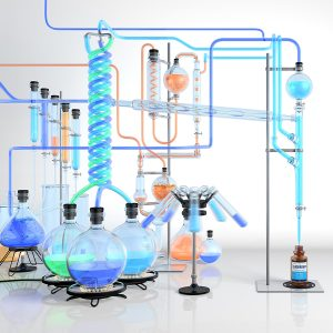 Digital Illustration of complex chemistry set
