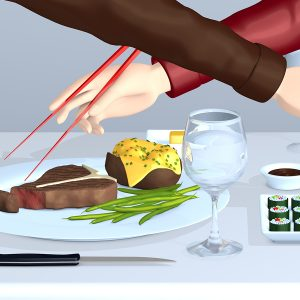 Digital Illustration of sharing a meal of sushi and steak