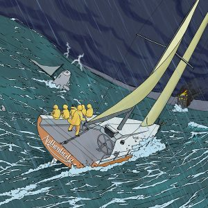 Illustration of sailboat navigating rough waters
