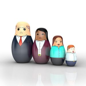 Illustration of Matryoshka dolls painted as businesspeople