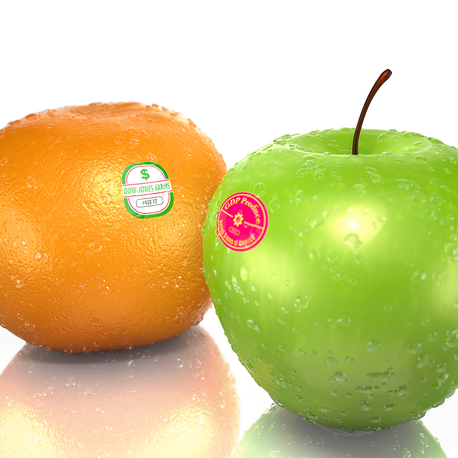 Illustration of an Apple and an Orange