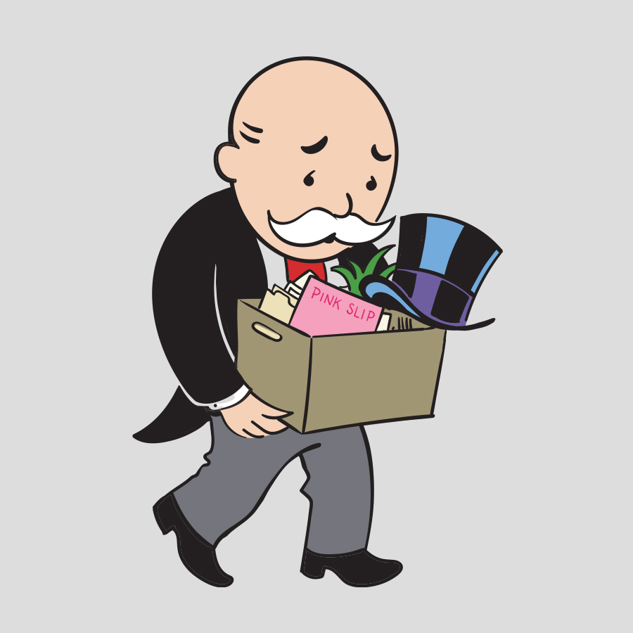 Illustration of the Monopoly Man carrying a box of possessions